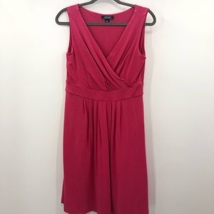 Lands' End Pink Wrap Front Fit & Flare Dress